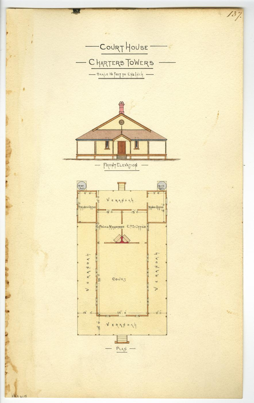 Architectural drawing of the Court House, Charters Towers