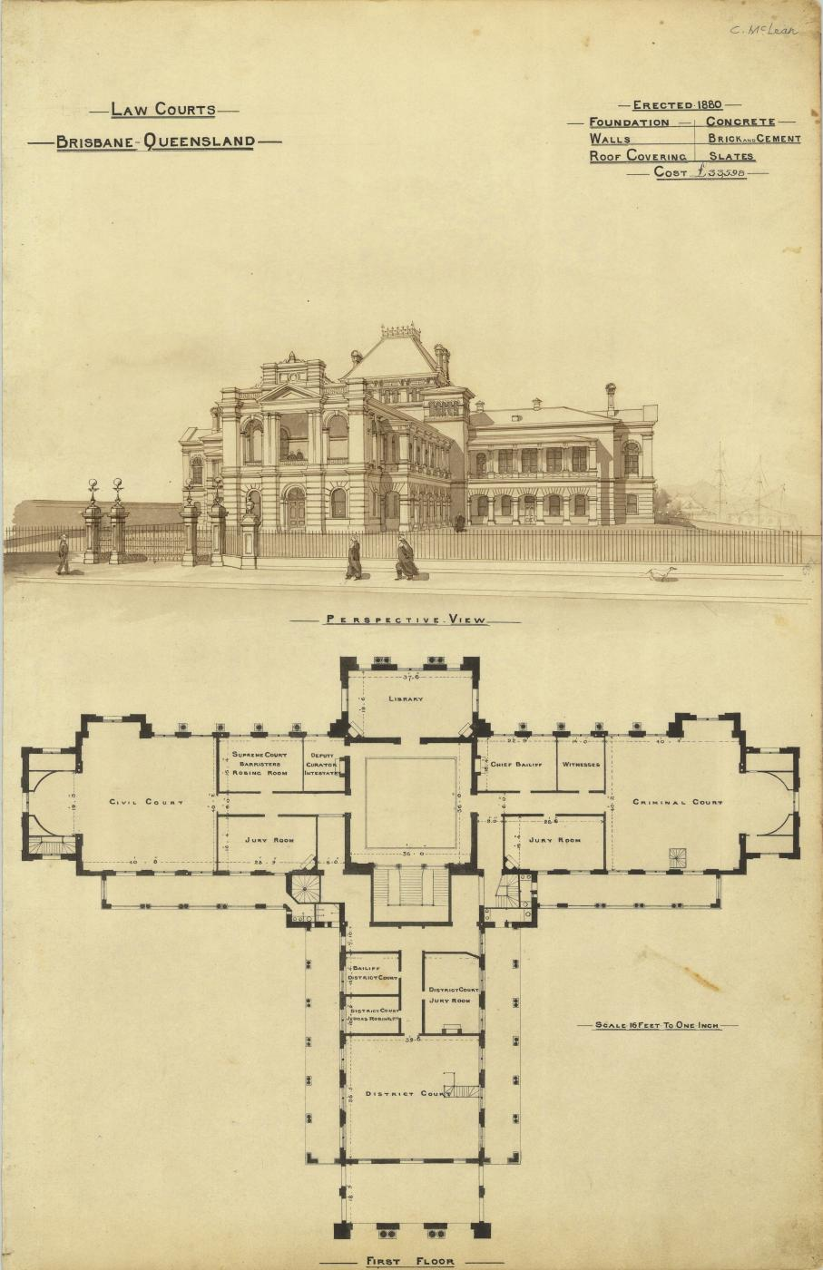 Architectural plan of the Law Courts, Brisbane