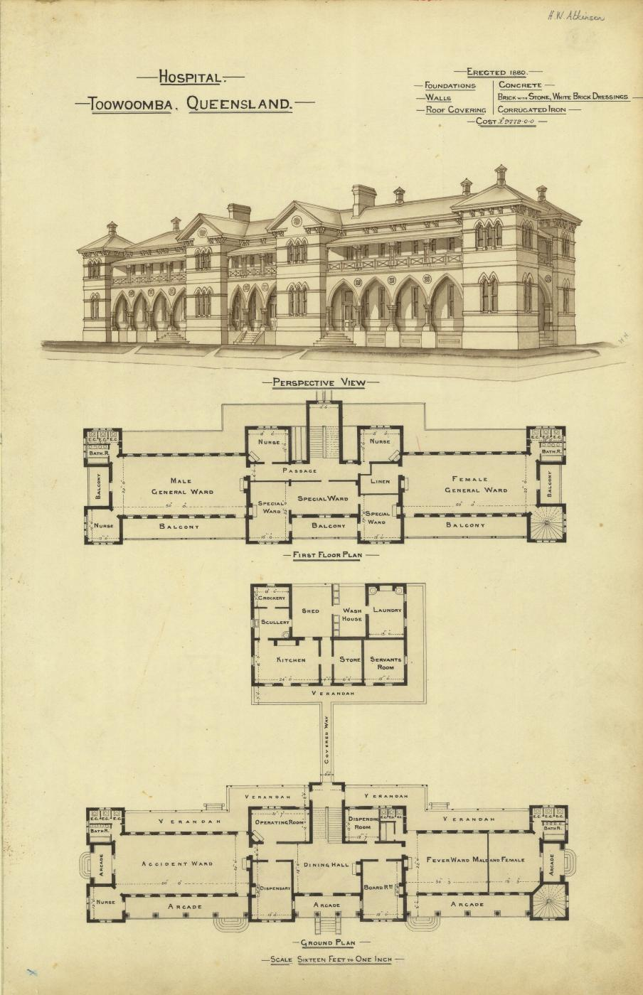 Architectural plans and perspective drawing of the hospital, Toowoomba