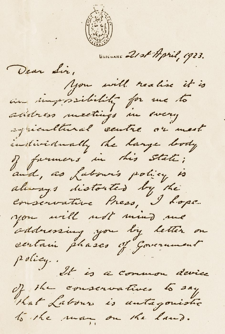 Letter from Premier Edward Theodore