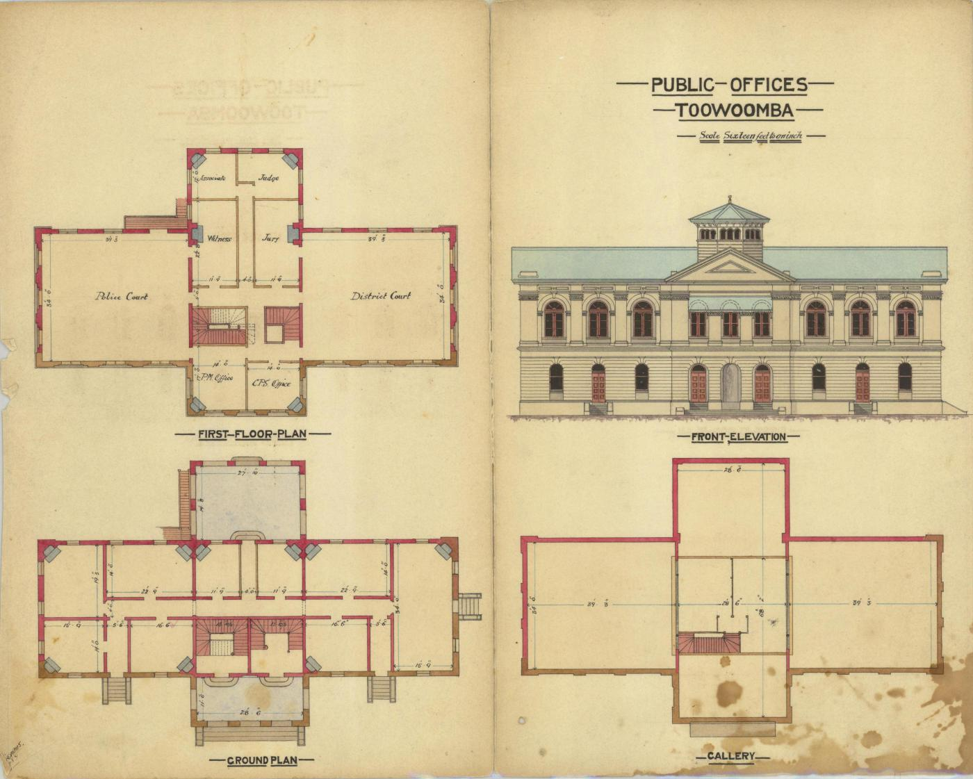 Architectural drawing of the Public Offices, Toowoomba