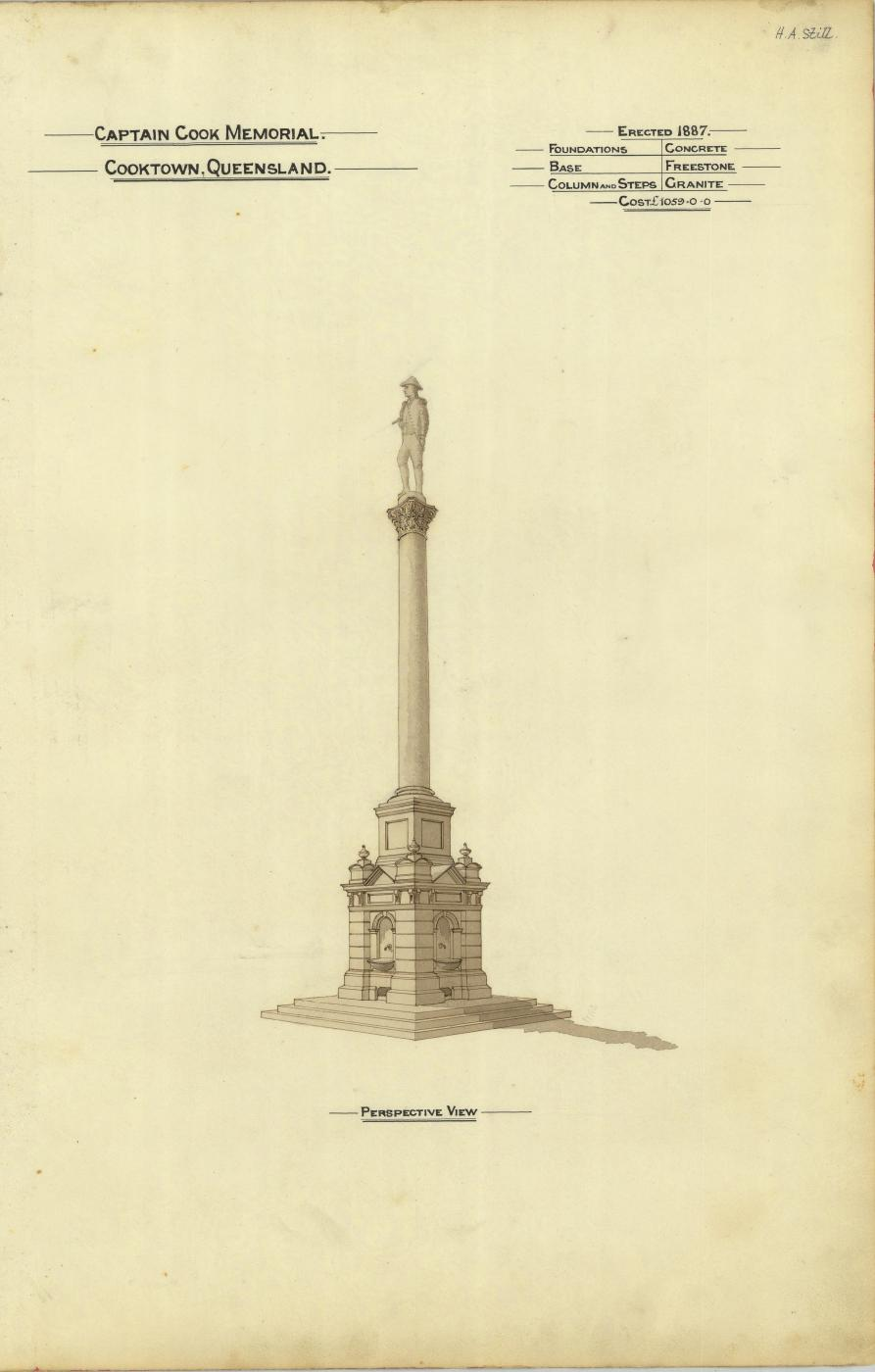 Perspective drawing of the Captain Cook Memorial, Cooktown