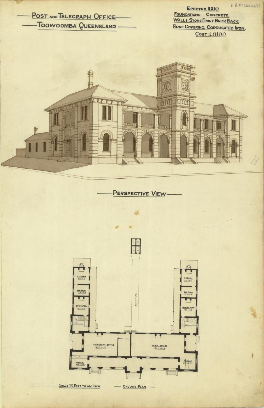 Architectural plan of the Post and Telegraph Office, Toowoomba