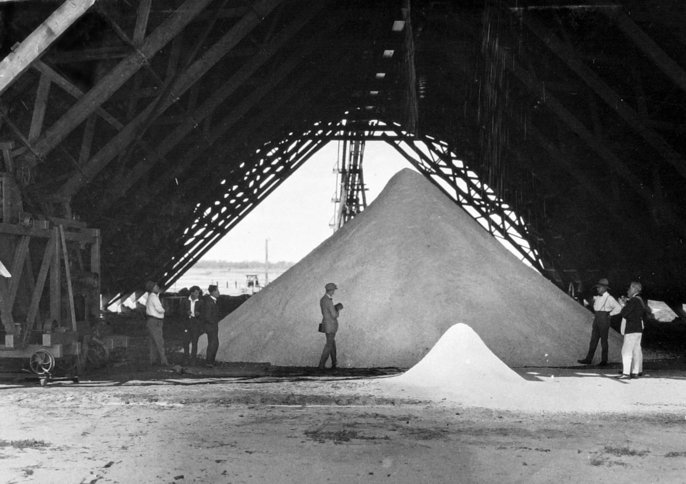 Salt in storage shed, Bowen Salt Field Refinery