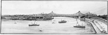 Drawing of the Brisbane River with ships and the Story Bridge