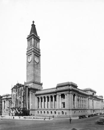Brisbane City Hall, showing the full length of the tall clock tower