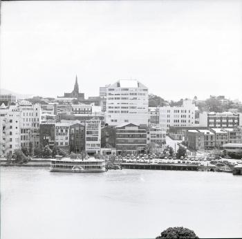 View of Brisbane, Petrie Bight, with river in foreground