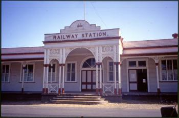 Exterior to the solid stone building of the Rockhampton railway station