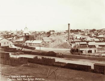 Sweeping view over the 19th century layout of Charters Towers, showing the rooftops of the town's houses