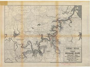 Map of the 1893 flood of Brisbane River, compiled 1970