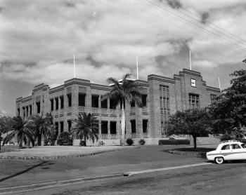 View of the exterior of Rockhampton bricked town hall