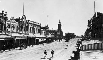 View of the broad open central business district of Rockhampton's wide street