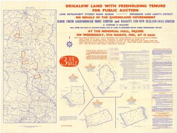 QSA DID 2810: Map of Brigalow Land with freeholding tenure available for Public Auction, 17 March 1965