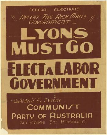 Electoral Poster, Communist Party of Australia, 1937