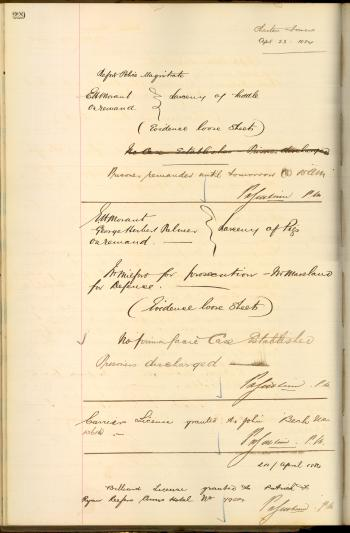 QSA DID 2804: EH Morant's charge sheets for larceny of pigs and a saddle, dated 23 April 1884