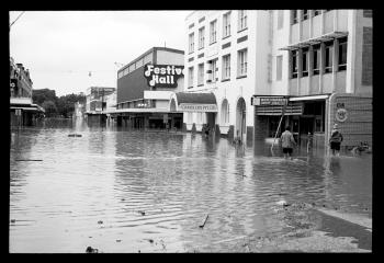 Festival Hall and Albert Street during the Brisbane River flood in 1974