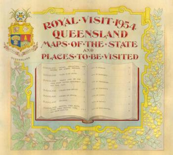 "QSA DID 2795: Royal Visit 1954 – Cover of bound volume of ""Maps of Queensland and Places To Be Visited"", c 1946 to 1954"