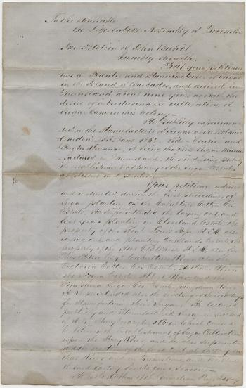 Petition from John Buhot to the Legislative Assembly for a Grant of Land for his services to the sugar industry