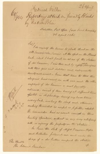 Letter from Frederick Walker to the Colonial Secretary regarding an attack of the Native Police