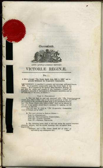 Co-operative Communities Land Settlement Act of 1893