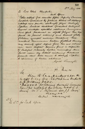 Letter (written in code) from Lord Lamington to Lord Roberts, Bloemfontein, South Africa, regarding Queensland contingents arriving in Capetown for the Boer War