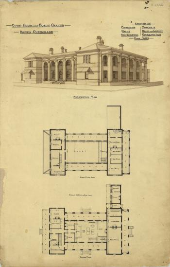 Architectural plan of the Court House and Public Offices, Bowen