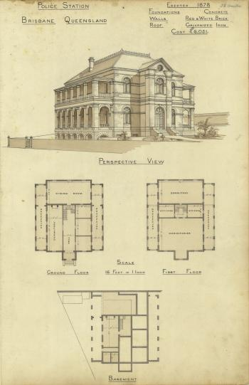 Architectural plans of the Roma Street Police Station, Brisbane