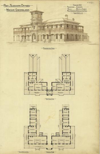 Architectural plans of the Post and Telegraph Offices, Mackay