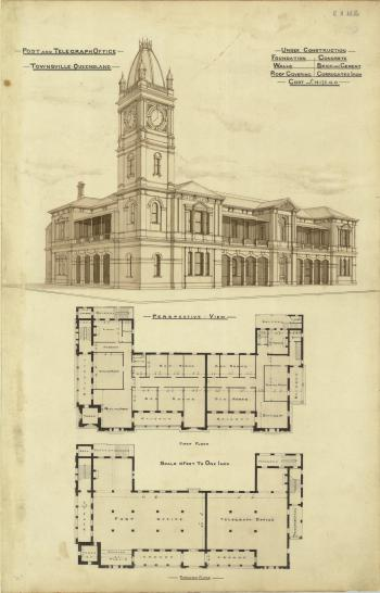 Architectural plans of the Post and Telegraph Office, Townsville