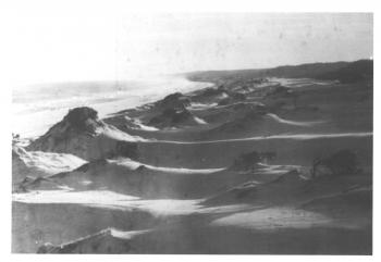 black and white photo of wind sculpted hills along Main Beach