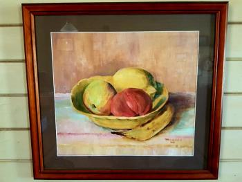 Acrylic still life of a fruit bowl by Ruby Campbell.  The yellow bowl contains a lemon, an apple and what appears to be a tomato, but may be a different kind of fruit!  A banana lies on the table beside the bowl.  The signature RM CAMPBELL 1961 is at lower right of image.