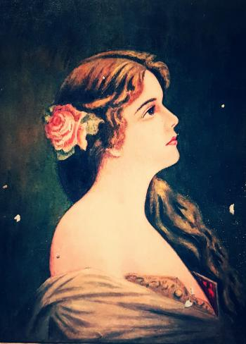 Artwork depicting a young woman's head and shoulders in profile, looking to the right against a dark background.  She has long brown hair swept to one side, and wears a pink rose as a hair ornament.  She appears to be wearing a bare-shouldered dress..